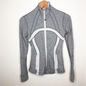 Lululemon Forme Zip Up Jacket Gray & White Sz 2